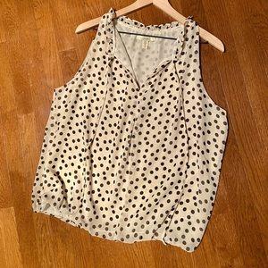 Cream Sleeveless Blouse with Polka Dots
